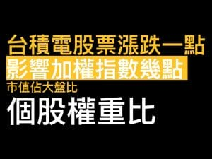 Read more about the article 台積電2330股票漲跌一塊 影響加權指數幾點? 個股權重比教學
